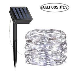 Solar String Lights, 200 LED Solar Fairy Lights 72 Feet 8 Mo