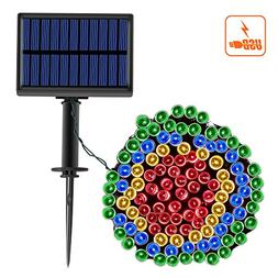 Solar String Lights with USB Charge, B BELK 39ft 100 LED Wat
