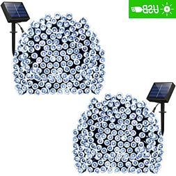 ADDLON 2 Pack Solar String Lights 72ft 22m 200 LED 8 Modes S