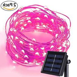 Anxus Solar String Lights, 100 LEDs Pink Starry String Light