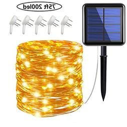 Cusomik Solar String Lights Outdoor,75ft 200 LED Copper Wire