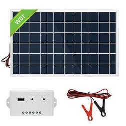 10W Solar System Kit: Panel + 3A Controller + Battery Clip f