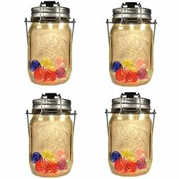 4-Pack Solar-powered Mason Jar 4 LED spotlights Lids  with C