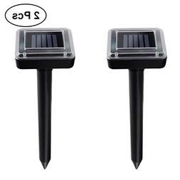 LEDMOMO 2Pcs Solar Ultrasonic Animal Repeller Waterproof Out