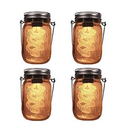 4-Pack Solar-powered Mason Jar 3D Illusion Light Bulb , Jar