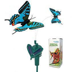 HQRP Twin Solar Butterflies Flying Fluttering Blue Swallowta