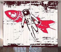 Lunarable Vintage Curtains, Retro Space Travel Astronaut ove