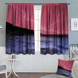 Anniutwo Nature Waterproof Window Curtain Thunderstorm Bolts