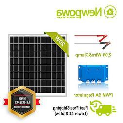 Newpowa 20W Watt 12V Solar Panel + PWM 10A Charge Controller