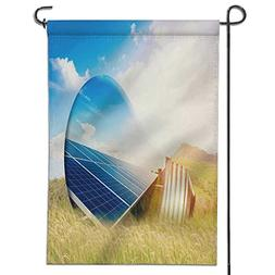 SCOCICI1588 Welcome Garden Flag-light bulb and solar panels