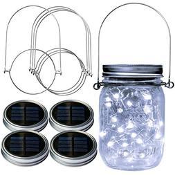 Homeleo 4 Pack WIDE MOUTH Mason Jar Solar LED Lights Lids In