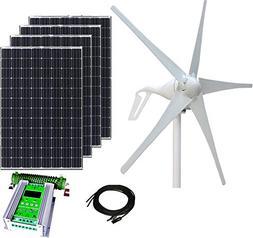 800W Wind & Solar Kit - 400W Wind Turbine + 4x100W Mono Sola