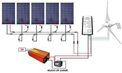 ECO-WORTHY 12V to 110V 900W Wind Solar Power: 5pcs 100W Poly