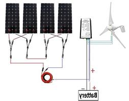 400 Watt Wind Turbine Generator with 4pc 160W Monocrystallin